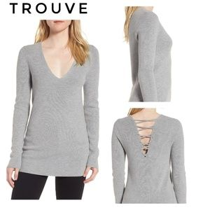 🆕Trouve Gray Cashmere Lace Up Sweater Size Small